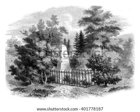 Sismondi tomb in the cemetery of Chenes, near Geneva, vintage engraved illustration. Magasin Pittoresque 1857. - stock photo
