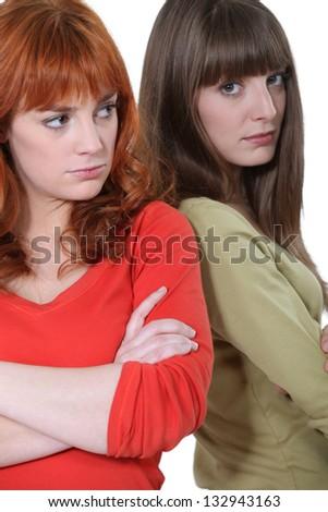 sisters after quarrel - stock photo