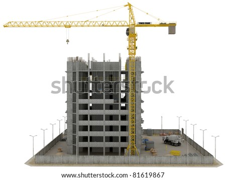 Site area: huge tower crane and unfinished buiding over white - stock photo