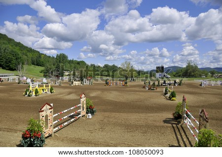 Site of International bromont Quebec�s horse jumping event of the year. Top-level competitions on a site that�s beautiful beyond compare. - stock photo