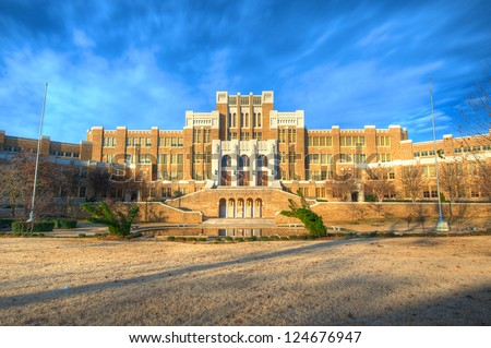 Site of the 1957 standoff between the federal government and the state of Arkansas. Dwight D. Eisenhower dispatched the 101st Airborne to insure integration in the public school system. - stock photo
