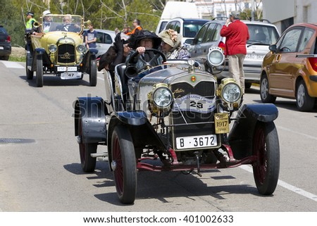 SITGES, SPAIN - APRIL 3: An Autos Espana Torpedo 1917 take part in the 58th Vintage Car Rally of Sitges, on April 3, 2016, in Sitges, Barcelona, Spain. - stock photo