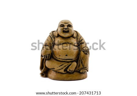 Sitting Buddha holds coconut in right hand on white - stock photo