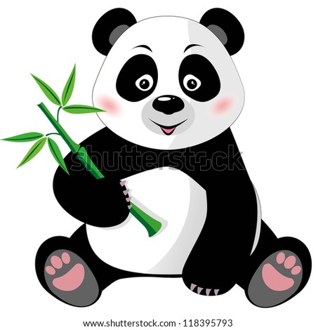 Sitting cute little panda with bamboo isolated on white background. Raster version - stock photo