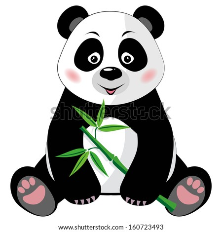 Sitting little cute panda with green bamboo isolated on white background. Raster version - stock photo