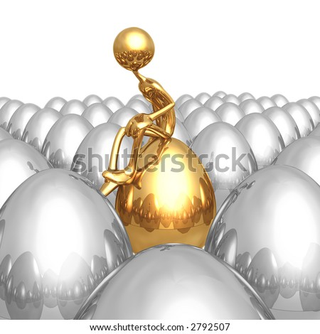 Sitting On A Unique Gold Nest Egg - stock photo