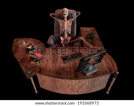 sitting skeleton in office interior concept illustration - stock photo