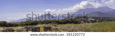 Situated at the area Katovigli in Makrygialos, this 3 acres villa is one of the greatest archaeological finds in Eastern Crete. - stock photo