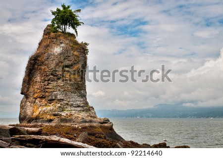 Siwash rock, Stanley park, Vancouver, Canada - stock photo