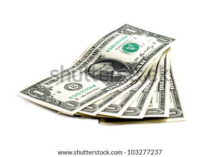 six american dollars with nominal value one - stock photo