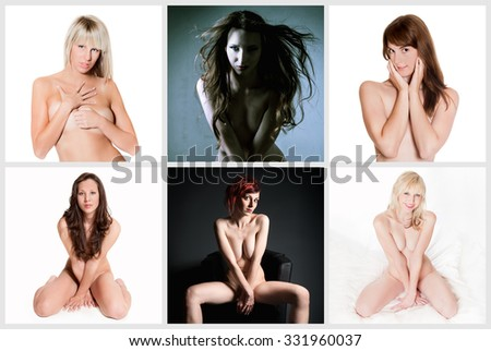 Six attractive nude models, their private parts are not visible - stock photo