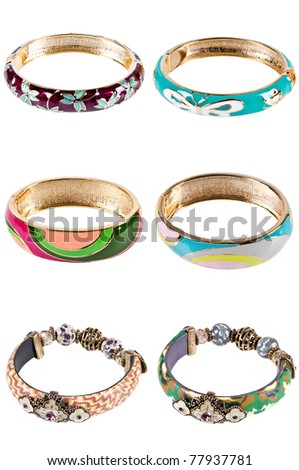 six bangles isolated on the white background - stock photo