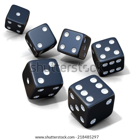 Six black game dices isolated on white background - stock photo
