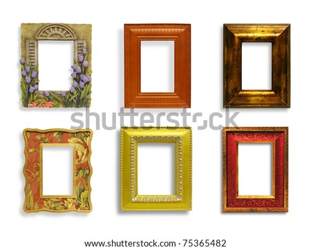 Six classic, antique, stylish picture frames isolated over white - stock photo