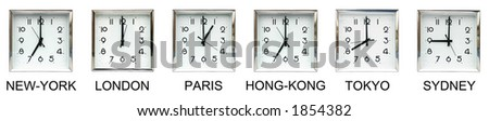 Six clocks representing different time zones : great illustration for international business. - stock photo