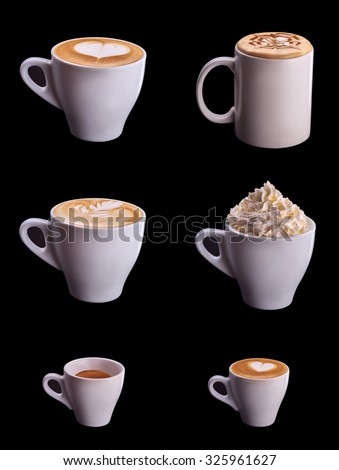 Six coffee cup collage set isolated on black background - stock photo