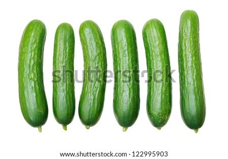 six cucumbers isolated on white background - stock photo