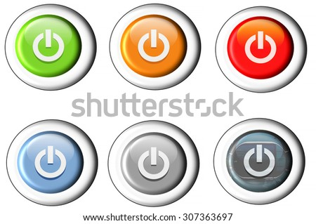 Six different buttons Start icon power button. - stock photo