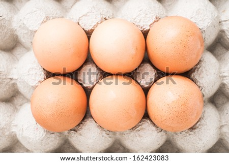 six fresh egg - stock photo