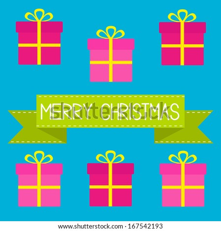 Six gift boxes with ribbons and bows. Merry Christmas card. Rasterized copy - stock photo