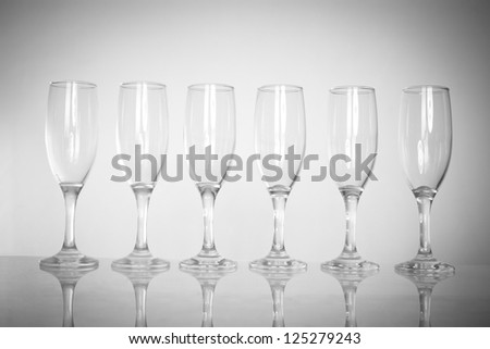 six glasses of glass are on the table - stock photo