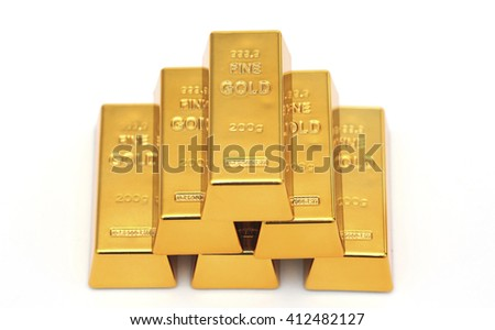 Six gold bars against a white background - stock photo