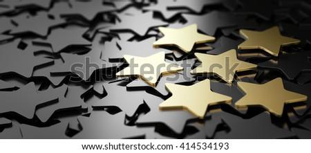 Six golden stars over black background. 3D illustration of high quality customer service - stock photo