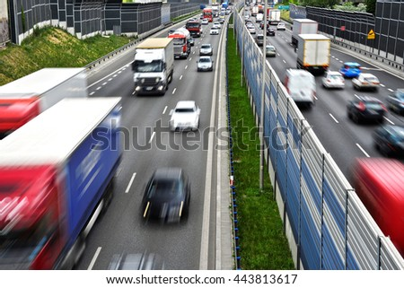 Six lane controlled-access highway in Poland.