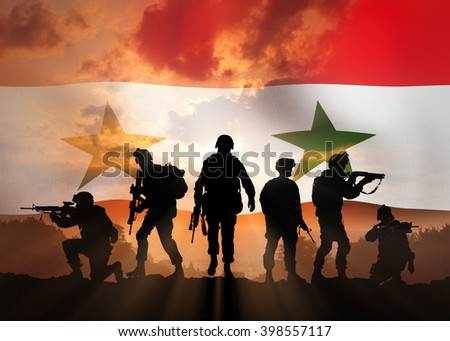 Six military silhouettes against the backdrop of the Syrian flag - stock photo