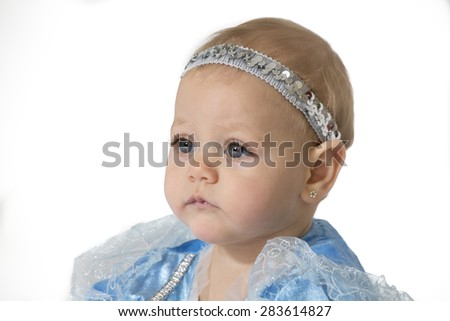 six-month girl in blue costume princess - stock photo