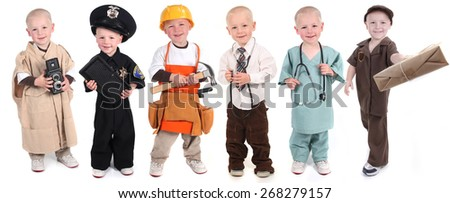 Six Occupation Versions Represented by a Child Police Construction Doctor Mail and Photographer - stock photo