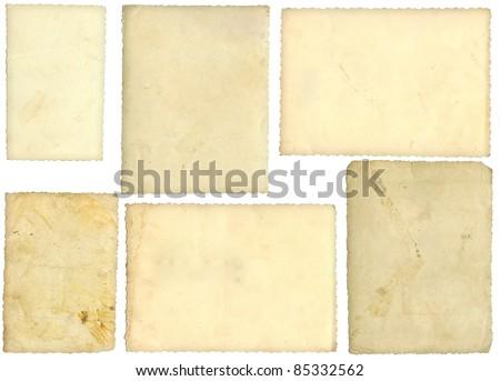Six old photos, back side, isolated on white - stock photo
