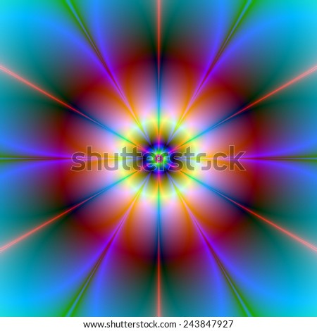 Six Petal Flower in Red and Blue / A digital abstract fractal image with a six petal flower design in red, blue, yellow and turquoise. - stock photo