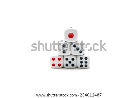 Six pieces of dices staked up - stock photo