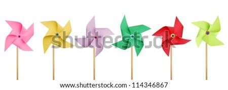 Six pinwheels on white - stock photo