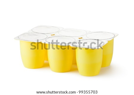 Six plastic containers for dairy products with foil lid. Isolated on a white. - stock photo