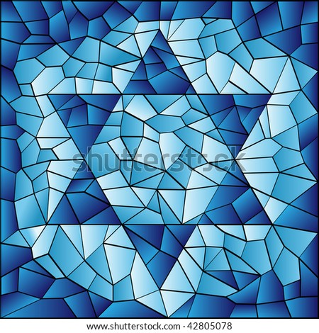 Six pointed star in blue stained glass mosaic - stock photo