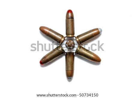 Six-pointed star made of 9mm Parabellum cartridges isolated - stock photo