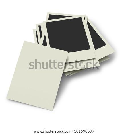 Six polaroid prints on white background - stock photo