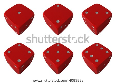 Six position of the dice - stock photo