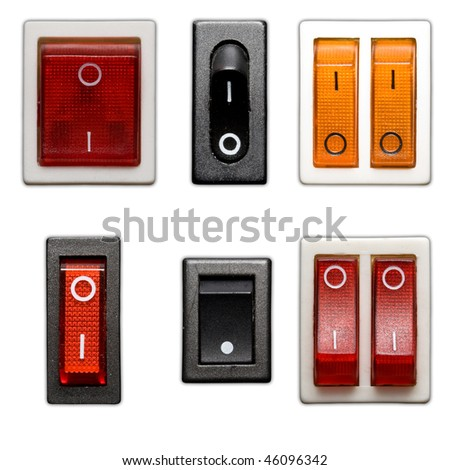 six power switch on off isolated in white background - stock photo