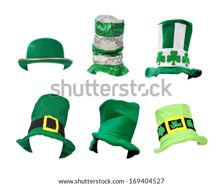 Six St. Patrick's Day hats isolated on white for easy extraction. Images were taken on a model head for proper perspective and easy placement on your subject.  - stock photo