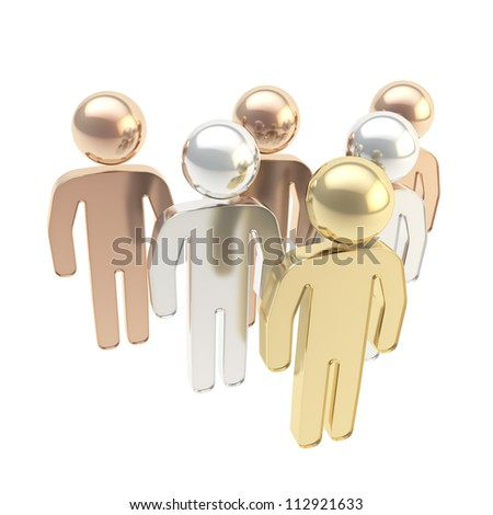 Six symbolic human figures as hierarchy metaphor isolated on white background - stock photo