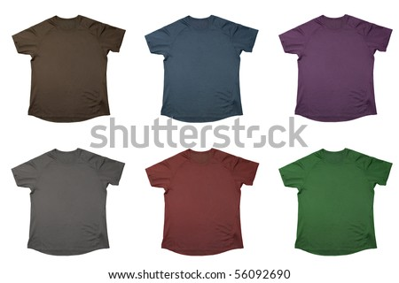 Six t-shirts of different colors isolated over white - stock photo