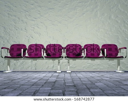 Six waiting-room sits outside in front of a wall on pavement - stock photo