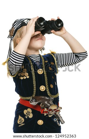 Six years girl wearing costume of pirate looking away through the binoculars, over white background - stock photo