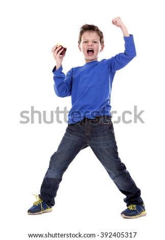 six years old boy wearing blue outfit on white background - stock photo