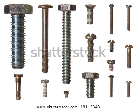 Sixteen different isolated bolts - stock photo