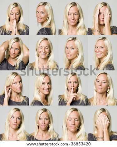 Sixteen facial expressions of a woman - stock photo
