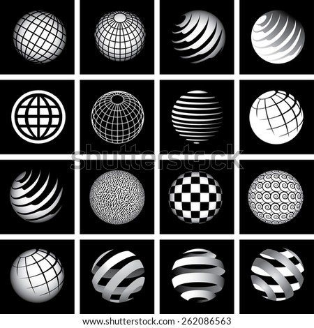 Sixteen Globes in Black and White - stock photo